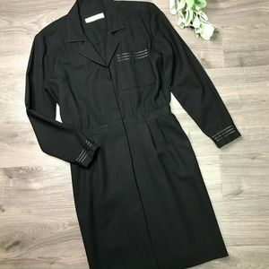MARY ANNE RESTIVO | sz 2 Black vintage shirt dress